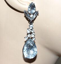 ORECCHINI strass pendenti cristalli argento trasparenti donna elegante party A27