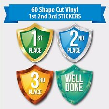 Pack of 60 Shaped Sports Day themed reward stickers 1st, 2nd 3rd place Well Done