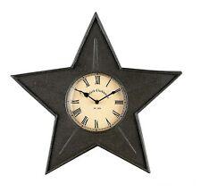 Black Star Metal Clock - Rustic - Western - Iron - Free Ship!