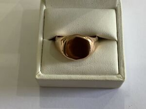 Vintage 9ct Gold Square Shield Signet Ring  Size T+ Pinkie Gents Heavy
