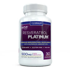 High Potency RESVERATROL PLATINUM - Anti Aging Trans Red Wine Extract Supplement