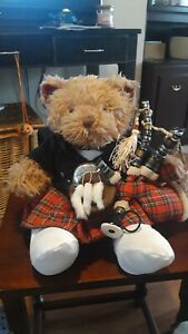 Build A Bear - RARE - Scottish Bear with Bagpipe Outfit