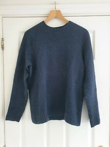 NIGEL HALL Mens Cotton-Mix Ribbed Jumper In Navy Size M