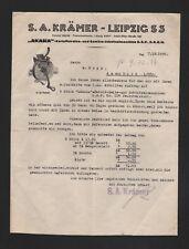 LEIPZIG, Brief 1938, S. A. Krämer AKASIA Kartoffelreibe-Gemüse-Schnitzel-Maschin