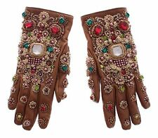 NWT $3700 DOLCE & GABBANA Beige Leather Gold Crystal Baroque Wrist Gloves 8 / M