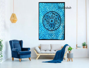 Blue Zodiac Indian Mandala Wall Hanging Poster Tapestry Cotton Bohemian Throw
