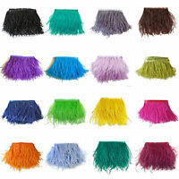 1/5/10Yards Natural Ostrich Feather Satin Ribbon Trimming Fringe 10-15cm/4-6""