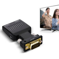 VGA Male to HDMI Female Converter Adapter 1080P Stereo Audio Output USB Power