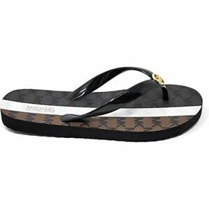 Michael Kors MK Flip Flop Sandals Women Black Multi W/Gold Logo SZ 9, 10, 11 New