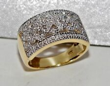 9CT YELLOW GOLD & SILVER DIAMOND LADIES CHUNKY RING ~ size T