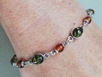 Bracelet ancien en argent et ambre