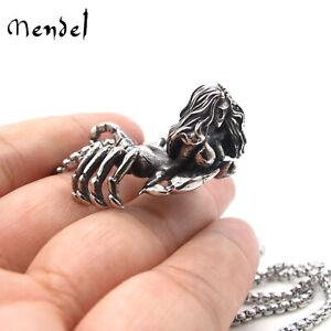 MENDEL Stainless Steel Monster Scorpion Women Pendant Necklace 25 Inch Chain Men