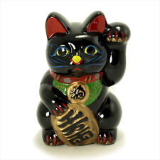 "Welcome 8""H Ceramic Black Maneki Neko Beckoning Lucky Figurine Cat Coin Bank"