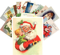 Postcards Pack [24 cards] Vintage Christmas Greeting Card Santa Kids CE5001