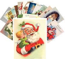 Postcards Pack [24 cards] Vintage Christmas Greeting Card Santa Kids CE5001