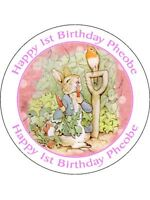 30-90 EDIBLE WAFER CUP CAKE TOPPERS PERSONALISED ANY TEXT PETER RABBIT UNCUT