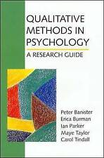Qualitative Methods in Psychology: A Research Guide by E.W. Banister, Ian Parker