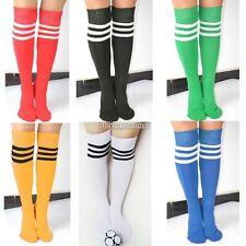 Unisex Men Women Sport Football Soccer Over Knee High Striped Cotton Socks01