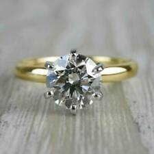 2.25Ct Brilliant Moissanite Solitaire 2Tone Engagement Ring Real 14k Yellow Gold