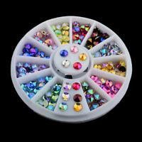 3D Acrylic Nail Art Tips DIY Decoration Glitter Rhinestones Gems Crystal Wheel C