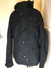 Mens All Saints Navy Blue Ink Parka Jacket Xs