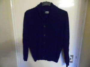 Gents Blue Collared, V Neck Long Sleeve, Button Up Cable Knit Cardigan size S