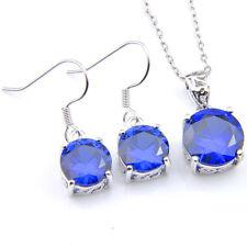 Handmade Jewelry set 2 pcs 1 Lot Round Swiss Blue Topaz Silver Pendant Earrings