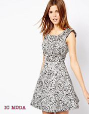 A Wear Jacquard Embellished Shoulder Party Everyday Dress Silver/Black UK12 EU40