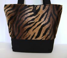 ANIMAL PRINT BROWN AND BLACK TIGER FAUX FUR BAG PURSE HANDBAG HAND MADE