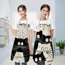 Kitchen Apron Printed Sleeveless Funny Dog Bulldog Cat Cotton Linen AproZT