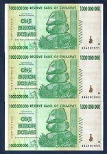 (DN) Zimbabwe LOT 3 x 1000000000 1 Billion Dollars 2008 AA P-83 SC UNC