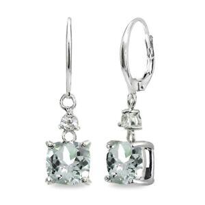 Cushion-cut Light Aquamarine & White Topaz 925 Silver Dangle Leverback Earrings