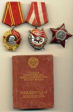 Soviet Order Medal  Lenin Red Banner Red Star with document  Original   (#1948)