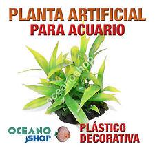 PLANTA ARTIFICIAL VERDE 13CM DIÁMETRO DECORACIÓN ACUARIO PECERA PLÁSTICO D91