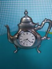 KIRK STIEFF DESIGNED PEWTER QUARTS CLOCK BY LENOX TEA POT IN EXCELLENT CONDITION