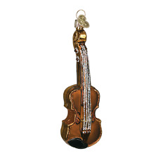 OLD WORLD CHRISTMAS BROWN VOILIN GLASS MUSICAL INSTRUMENT XMAS ORNAMENT 38008