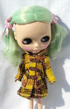 Blythe Outfit Clothing Yellow & Brown Flannelet Coat