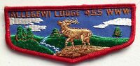 MERGED ALLEGEWI OA LODGE 455 SCOUT PATCH FLAP RED BORDER CLOTH BACK 1960s MINT!