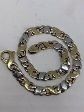 PRETTY HEAVY 9CT YELLOW WHITE GOLD FANCY LINK BRACELET - 7.25 INCHES