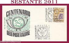 ITALIA FDC ROMA CENTENARIO POSTE ITALIANE1962 ANNULLO SPECIALE ROMA G8