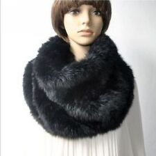 Hand knit rabbit fur big neck warmer black color