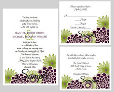 100 Personalized Purple Plum Floral Green Bridal Wedding Invitations Set