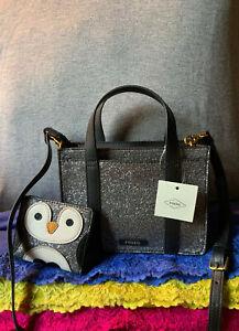 Fossil Maisie Mini Gunmetal Glitter Black PVC Bird Wallet Zip Crossbody Satchel