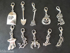 10 Clip On Halloween Bracelet Charms pagan silver set witch pumpkin ghost raven