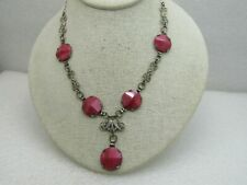 """Vintage 1920's Pink Cateye Art Deco Necklace,  With Drop, Filigree Links, 16"""""""