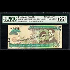 Dominican Republic 500 Pesos 2002 Specimen TOP POP PMG 66 GEM UNC EPQ P-172s1
