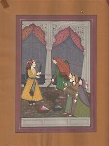 Indian Rajpoot King & Queen Holi Celebration Miniature Painting Art Decorative