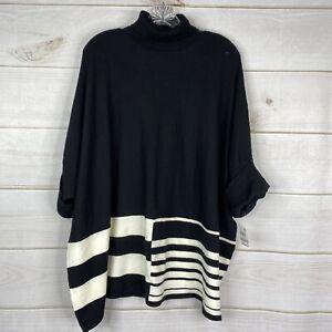 Alfani Plus 1X Turtleneck Black White Women's Poncho Sweater Pullover Knit NWT