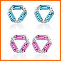Silber Kristall Zirkonia Ohrstecker aus 925 Sterlingsilber blau pink + Beutel