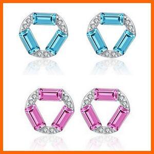 Silber Kristall Zirkonia Ohrstecker aus 925 Sterlingsilber blau pink